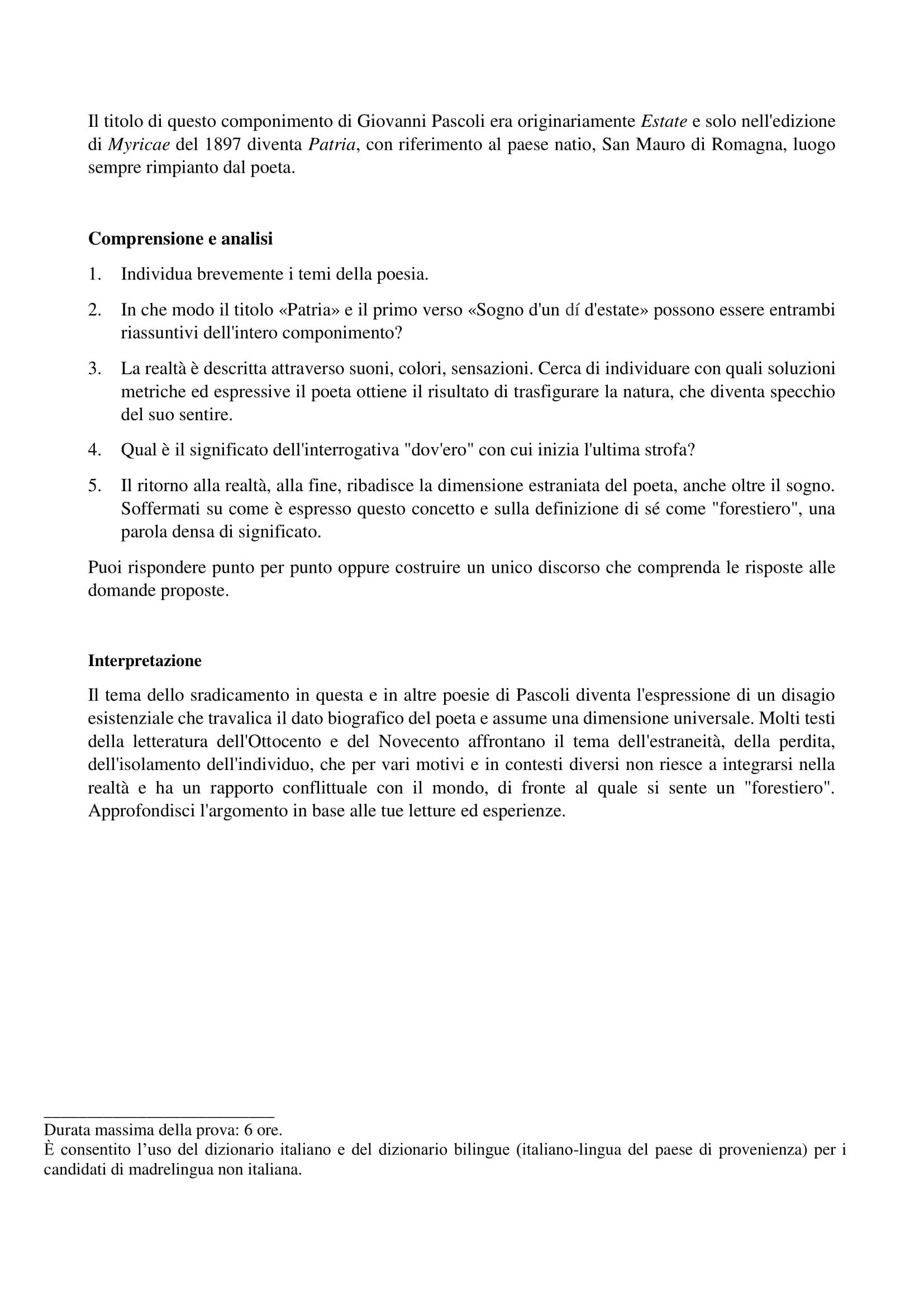 Patria di Giovanni Pascoli - Traccia svolta